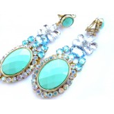 Turquoise Blue Mint Earrings, Turquoise Gold Clips,