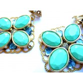 Turquoise Mint Earrings, Turquoise Gold Clips,