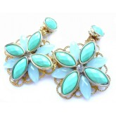 Mint Turquoise Earrings, Mint Gold earrings,