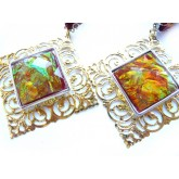 Dichroic Earrings, Large Earrings, Square Earrings,