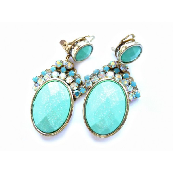 Mint Turquoise Earrings, Turquoise Gold, Earrings, Mint Clips,