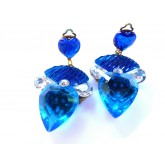 Blue Heart Earrings, Cobalt Blue Earrings,