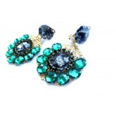 Lace Earrings, Emerald Green Earrings,