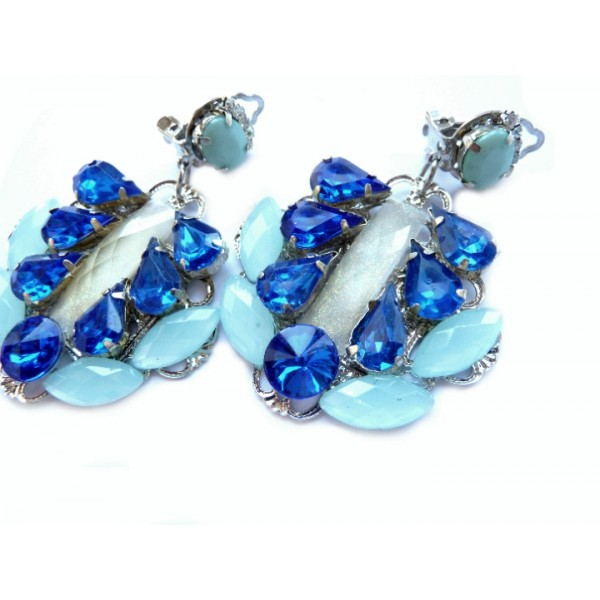 Blue Earrings, Statement Earrings, Blue Clips,