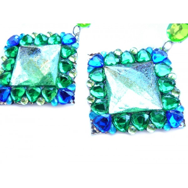 Green Blue Earrings, Large Statement Earrings, Emerald Earrings,