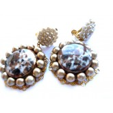 Tortoise Earrings, Round Brown Earrings, Tortoise Clips,