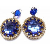 Blue Earrings, Cobalt Earrings, Blue Clips,