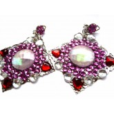 Red Purple Earrings, Large Statement Earrings, Contemporary Earrings,