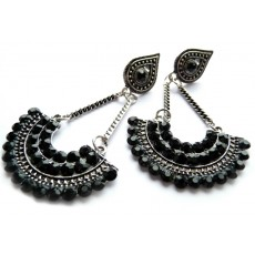 Black Crystal Earrings, Boho Chic, Post Dangle, Fan Earrings,