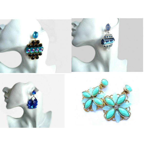 Blue Earrings, Black Earrings, Cobalt Earrings, Mint Earrings,