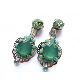 Green Earrings, Green Blue Earrings, Small Earrings,