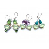 Green Earrings, Resin Earrings, Small Earrings,