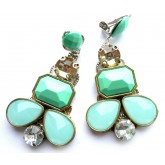 Statement Mint Earrings, Blue Mint Earrings, Blue Clips,