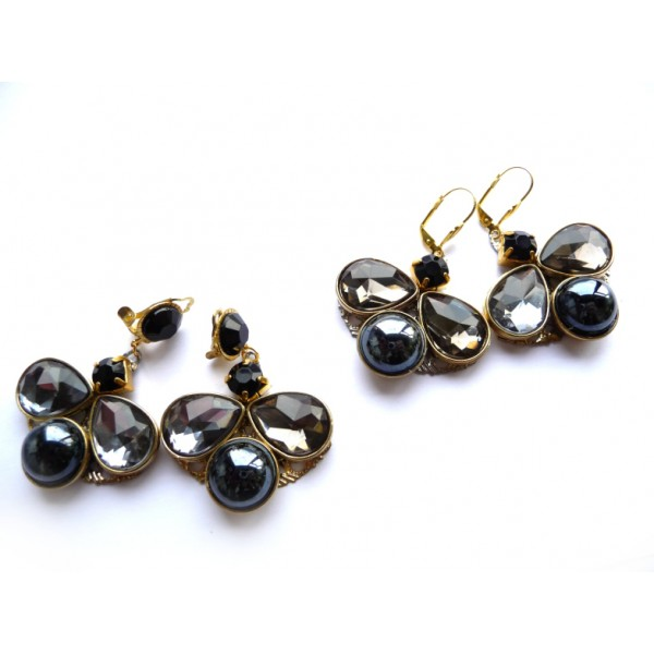 Black Earrings, Butterfly Earrings, Black Butterfly,