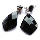Black Earrings, Black Clips, Black Silver Earrings, Everyday Earrings,