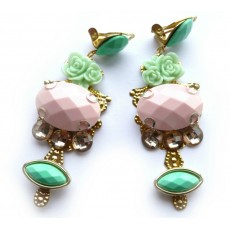 Wedding Earrings, Romantic Earrings, Pink Mint Earrings,