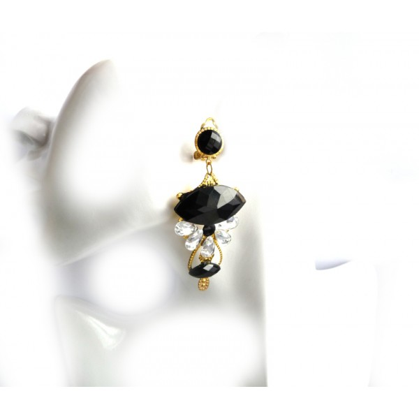Black Earrings, Victorian Earrings, Black Statement Earrings,