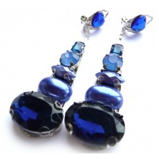 Blue Earrings, Cobalt Earrings, Long Blue Earrings,