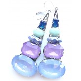 Clip On Earrings, Blue Clips, Multicolor Earrings,
