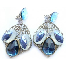 Blue Clips Earrings, Blue White Earrings,