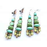 Multicolor Earrings, Clip on Earrings, Green Clips,
