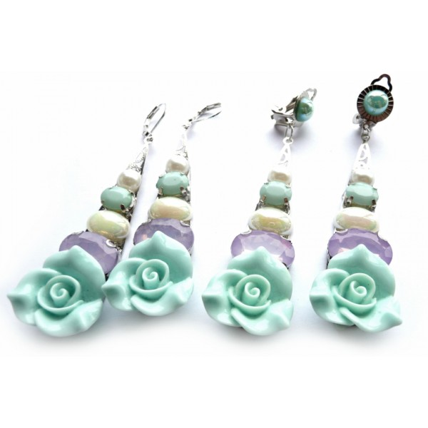 Wedding Earrings, Romantic Earrings, Mint Roses,