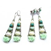 Long Mint Earrings, Roses, Mint Green Earrings,