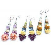 Multicolor Earrings, Floral Earrings, Roses,