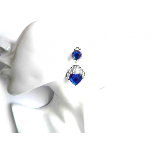 Wedding Blue White Earrings, Bridesmaids Earrings, Made of Honor,