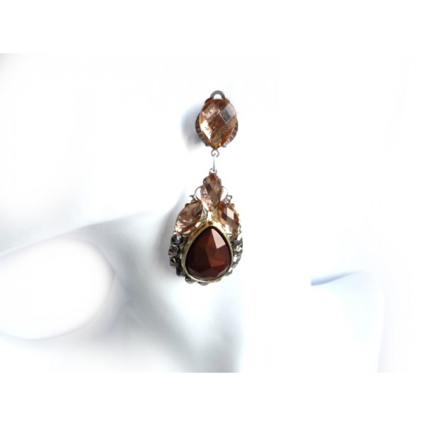 Brown Earrings, Brown Clips, Black Silver Earrings, Everyday Earrings,