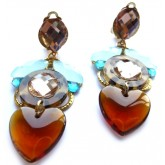 Tortoise Earrings, Heart Earrings, Brown, Blue, Amber,
