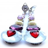 Lavender Earrings, Teardrop Clips,