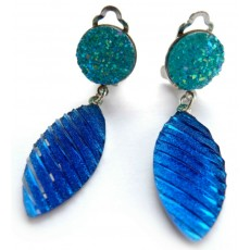 Blue Navette Earrings, Blue Clips, Blue Silver Earrings, Everyday Earrings,