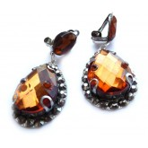 Brown Earrings, Burnt Sugar, Teardrop Earrings,