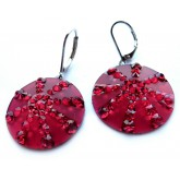 Red Earrings, Round Earrings,