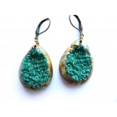 Rustic Druzy Earrings, Gold Druzy Earrings, Primitive Earrings,