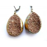 Rustic Druzy Earrings, Desert Sand Druzy Earrings, Primitive Earrings,