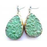 Rustic Druzy Earrings, Mint Green Druzy Earrings, Primitive Earrings,