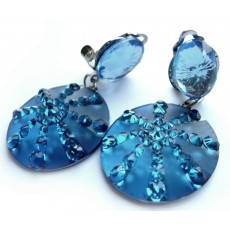 Blue Earrings, Blue Clips, Blue Teal Earrings,