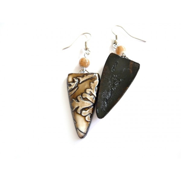Rustic Shield Earrings, Brown Boho, Tribe, Rustic, Porcelain Like,