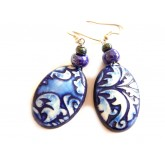 Rustic Blue Boho Earrings, Porcelain Like, Ethnic, Pattern Earrings,