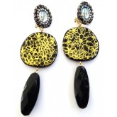 Black Gold Clips, Black Dangle Earrings,