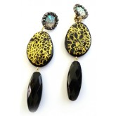 Black Gold Clips, Black Dangle Earrings, Statement