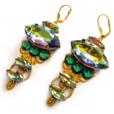 Peacock Earrings, Multicolor Earrings, Statement Earrings,