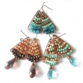 Wire Earrings Blue Brown