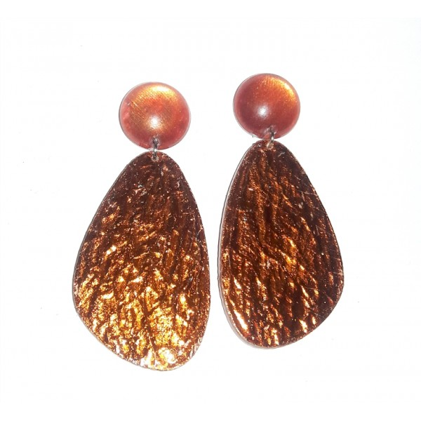 Fire Red Earrings, Copper Hammered