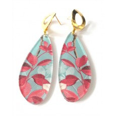 Leaves Earrings, Blue