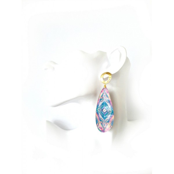 Blue Ray Earrings, Drop