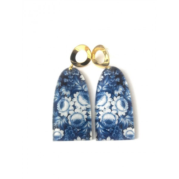 Blue Earrings, Floral