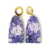 Purple Earrings, Floral